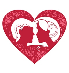 couple in floral heart vector image vector image