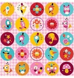 Cute characters animals flowers circles nature vector