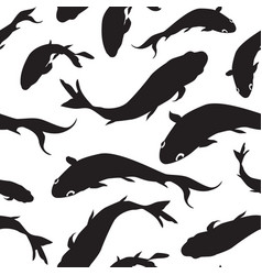 fish silhouette seamless pattern underwater vector image