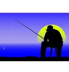 Fishing at dawn vector