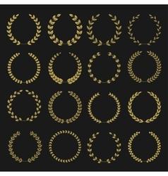 Golden laurel wreaths vector