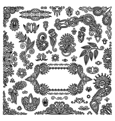 hand draw black flowers and frames elements vector image