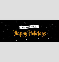holiday greeting banner gold greeting on night vector image