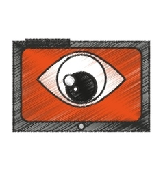 Isolated eye inside tablet design vector