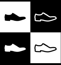 Men shoes sign black and white icons and vector