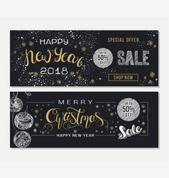 Merry christmas and new year sale advertising vector