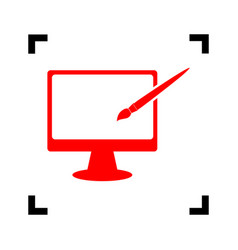 monitor with brush sign red icon inside vector image vector image