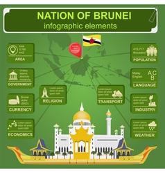 Nation of brunei infographics statistical data vector