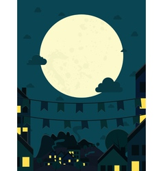 Night small town with big moon vector image vector image
