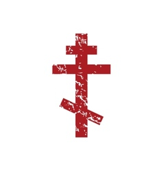 Red grunge orthodoxy logo vector