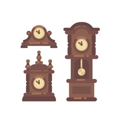 Set of old vintage clock flat icon vector