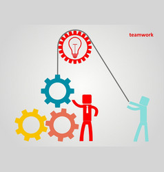 Teamwork concept - an employee raises a gear on a vector