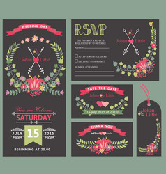 Wedding invitation template setfloral wreath vector