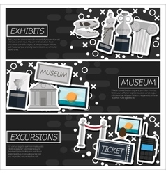 Set of horizontal banners about museum vector