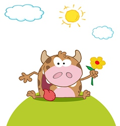 Calf cartoon character with flower vector