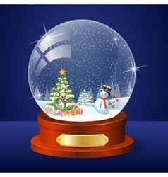 Christmas winter landscape globe vector image