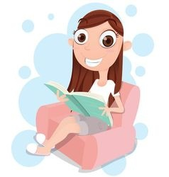 Girl reading on sofa vector