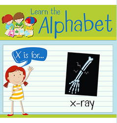 Flashcard letter x is for x-ray vector
