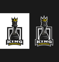 king strategies chess figure emblem logo vector image