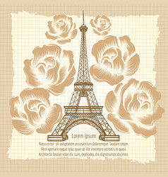 Eiffel tower and roses vintage poster vector