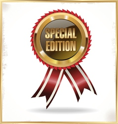 Special edition label with ribbons vector