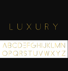 Gold minimalistic font luxury english alphabet vector