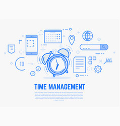 Time management alarm clock vector