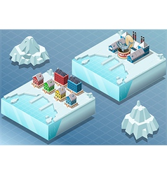 Isometric arctic town and fish canning factory vector