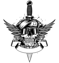 Skull in beret wings and dagger vector image