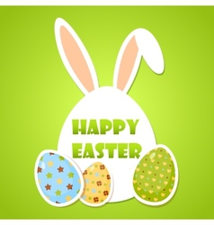 Cute easter poster with eggs and rabbit ears vector