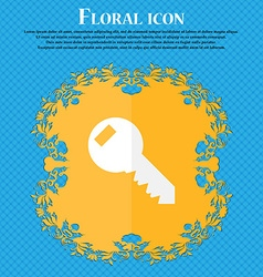 Key sign icon unlock tool symbol floral flat vector