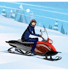 Man riding on a snowmobile vector