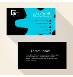 Simple blue spot black business card design eps10 vector