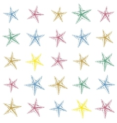 Colorful hand drawn sketched starfish decoration vector