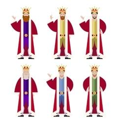 Set of flat king ikons vector image