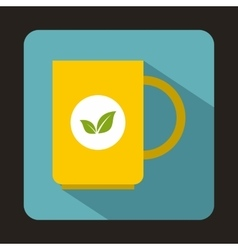 Yellow cup of tea icon in flat style vector