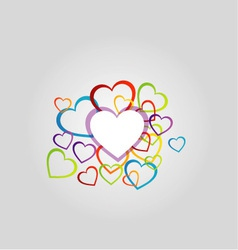 Background with colorful hearts vector image