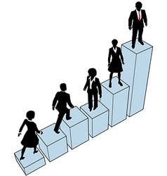 Business people climb stand on chart vector image vector image