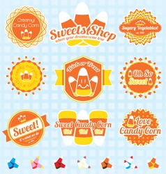 Candy corn labels and icons vector