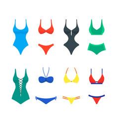 cartoon color woman swimwear set vector image