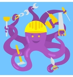 Cartoon octopus handyman vector