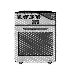 Color crayon stripe cartoon stove gas with oven vector