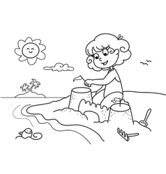 Coloring young girl at the beach vector image vector image