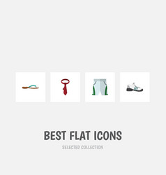 Flat icon garment set of cravat beach sandal vector