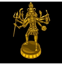 Golden statue of the deity with many hands vector