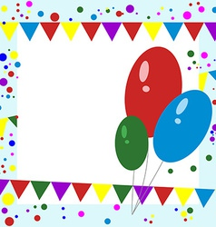 Greeting card balloons confetti and garlands vector