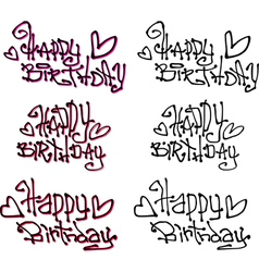 Happy birthday wish hand drawn liquid graffiti vector