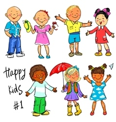 Happy Kids - part 1 Hand drawn clip-art vector image vector image