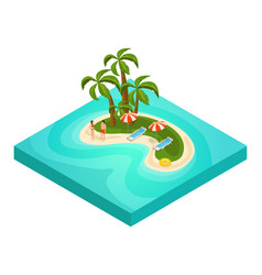 Isometric tropical beach vacation concept vector