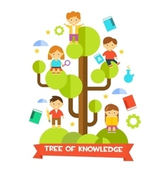 Kids Studying on Tree vector image